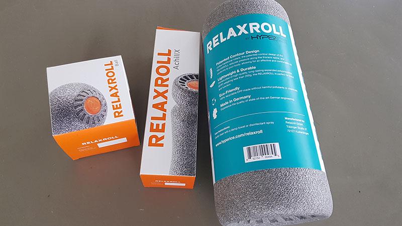 Relaxroll Produkte: Maxiroll, AchillX und Faszienball